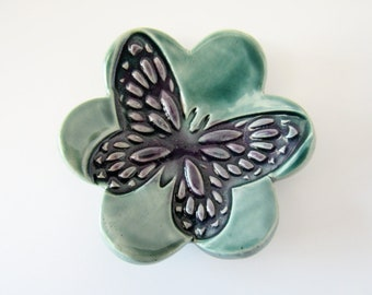 Butterfly ring dish or Coffee spoon rest - green and purple glazes
