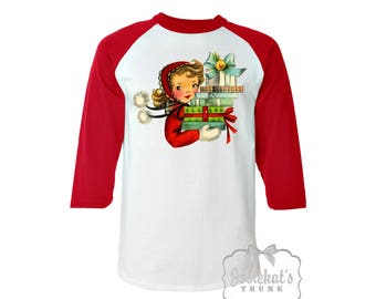 Christmas Shirt - Womens Christmas Shirt -  Christmas Baseball Red Shirt - Vintage Shopping Womens - Retro Adult Unisex S M L Xl 2Xl 3XL