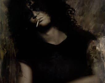 "ORIGINAL Slash painting, 24x34"", oil on canvas, Guns N' Roses Portrait"