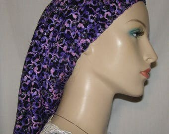 Purple Pink Snood SLIP ON Head Covering | Hair Snood | Tichel | Scarf | Mitpachat | Headcovering | Modest Wear | Chemo Cover | Hair Loss Cap