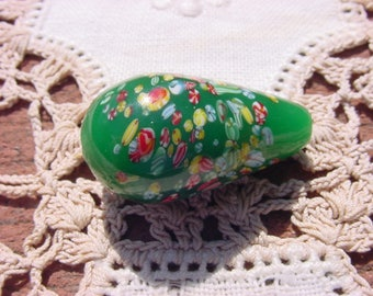 Rich Jade XLG Vintage Millefiori Glass Focal Bead Drop