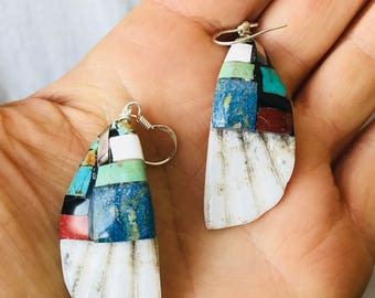 Santo Domingo Pueblo Shell and Stone Mosaic Inlay Earrings. Native American