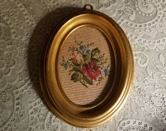 Vintage Needlepoint of Flowers, Gold Oval Picture Frame