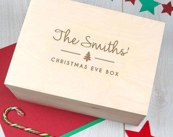 Christmas Eve Box Personalised Large Wooden Christmas eve Box