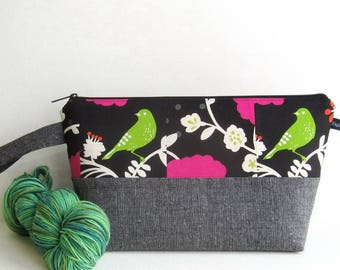 Wedge Bag, Shawl Project Size Knitting Bag, Patchwork panel of Japanese fabrics with birds