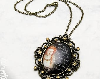 The world's a stage Shakespeare quote poem Gothic Necklace Fashion Jewelry Pendant Glasscabochon Handmade vintage large XL opulent bronze