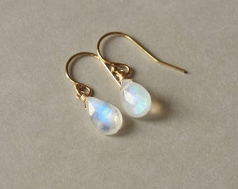 Faceted Rainbow Moonstone Earrings, Gold Moonstone Jewelry, June Birthstone Moonstone Jewellery, Rainbow Moonstone Briolette Earrings