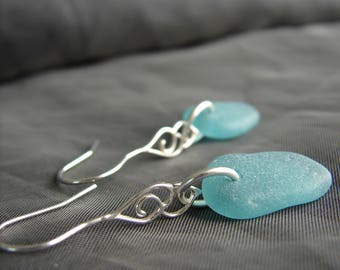 Whitecap sea glass and sterling silver earrings / teal beach glass jewelry / seaglass earrings / beach wedding jewellery / delicate drops