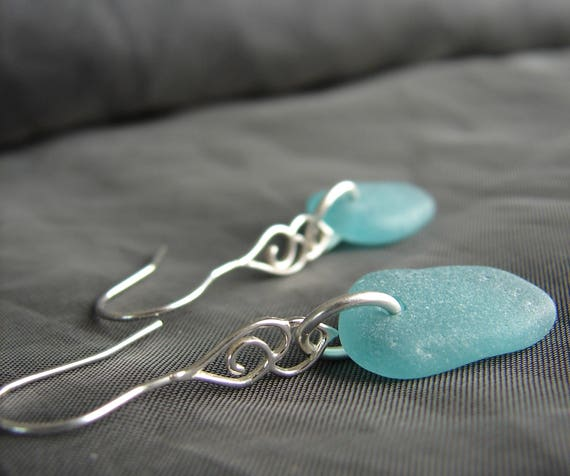 Whitecap sea glass earrings in teal
