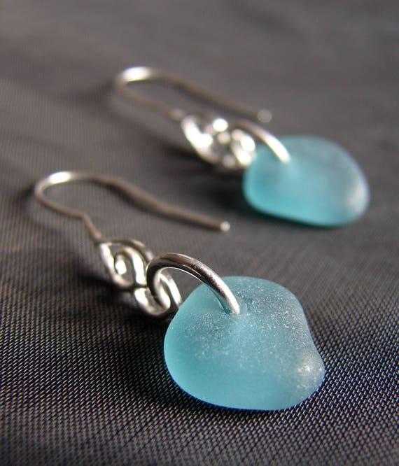 Whitecap sea glass earrings in teal