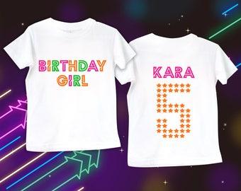 White Glow Shirt Blacklight Party Girlss Birthday