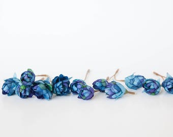 12 Pieces Hops Blossoms in Blue - artificial flowers, flower crown supplies - ITEM 0334