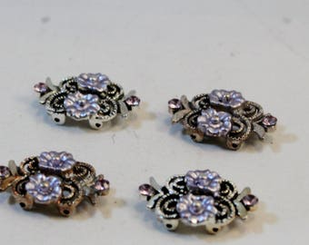 Double Strand Antique Silver Purple Flower and Rhinestone, Plated Pewter Link, Connector, Spacer Bar Findings, 4 pieces
