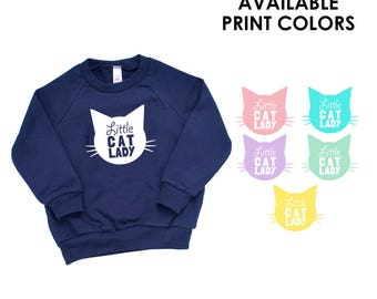 Little Cat Lady Kids Navy Blue Sweatshirt - Family Photos, Meow, Expecting, Baby Shower, Matching, Mommy and Me, Cute Girl Gift, Kitty Cat
