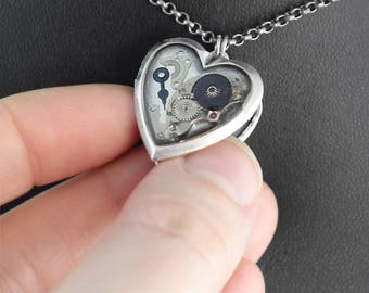 Steampunk Heart Locket Necklace - My Clockwork Heart's Secrets by COGnitive Creations