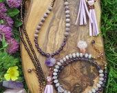 Purple Lilac Long Tassel Necklace + Earrings + Double Wrap Bracelet - Violet Lavender - Gold Filled Hoops - Gypsy Jewelry - Funky Bohemian