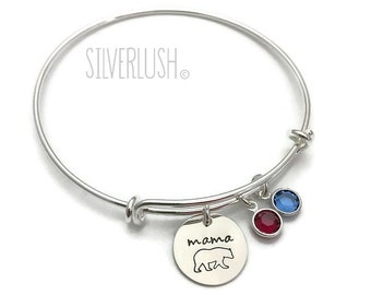 Mama Bear Expandable Bracelet with Two Birthstones