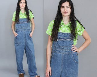 90's Blue Jean Overalls with Zipper Pocket in Large XL Plus Size . Overall Pants Jeans Xhilaration . Cargo Pockets Long Baggy Artist 1990s