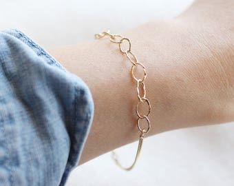 "14k gold fill mixed chain bracelet - ""thelma"" gold bracelet by elephantine"