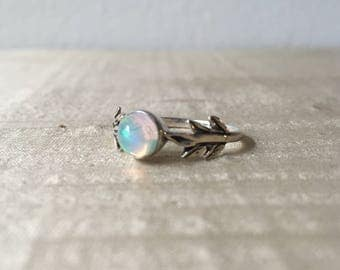 Opal and Sterling Silver- The Fire Leaf Ring