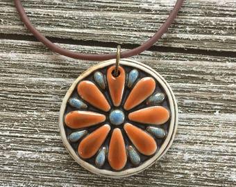 Orange Daisy Porcelain Pendant