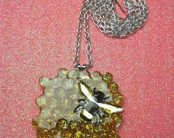 Bee Honeycomb necklaces pendant with glitter resin