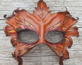 Autumn Dryad Leather Mask - Greenwoman, Fall Leaves or Leaf Lady Wearable Art Costume for Masquerade, Theater, Festival or Ren Faire
