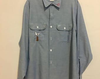 Vintage 1970's Mens Chambray Big Mac Shirt with Hand Embroidery Size Large