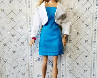 Barbie clothing, Handmade. Barbie dress, Jacket, blue dress, white jacket