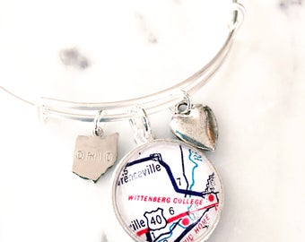 Wittenberg College Charm Bracelet - Wittenberg University - Springfield - Map Bracelet - Graduation Gift - Go Tigers - Gift for Graduate