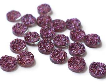 Purple Glitter Druzy Cabochons Faux Druzy Cabochons 12mm Round Cabochons Resin Cabochons Druze Cabochons Drusy Cabochons
