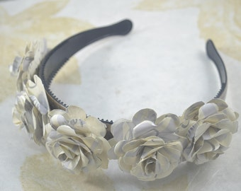Paper Flower Headband Crown - Upcycled Paper Flowers Headpiece - Silver White Flowers on Wide Headband