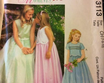 UNCUT McCall's 3113 Girls' Flower Girl Dress Size 7-8-10  Uncut Complete