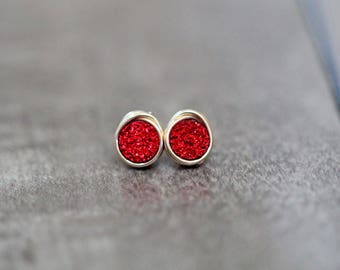 Druzy Studs , Red Tiny Post Earrings in Gold , Sterling Silver , Rose Gold , Petite Minimalist Fashion - Micros ( Tamale )