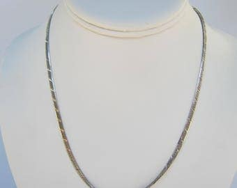 "Sterling Silver Diamond Cut Herringbone Chain Necklace - 17""  7 Grams    1857D"