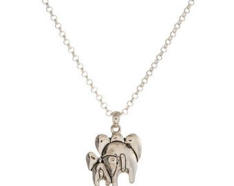 Departing Elephant Pendant Necklace, Silvertone