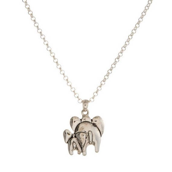 Departing Elephant Pendant Necklace, Silvertone