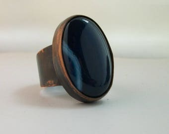 Antiqued copper ring with blue agate cabochon, size 12 US - copper jewelry - men's rustic copper ring- agate jewelry- men's agate ring