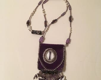 Purple Leather Medicine Bag, Leather Necklace with Amethyst Fringe, Purple & White Beaded Leather Pouch, Purple Medicine Bag Necklace