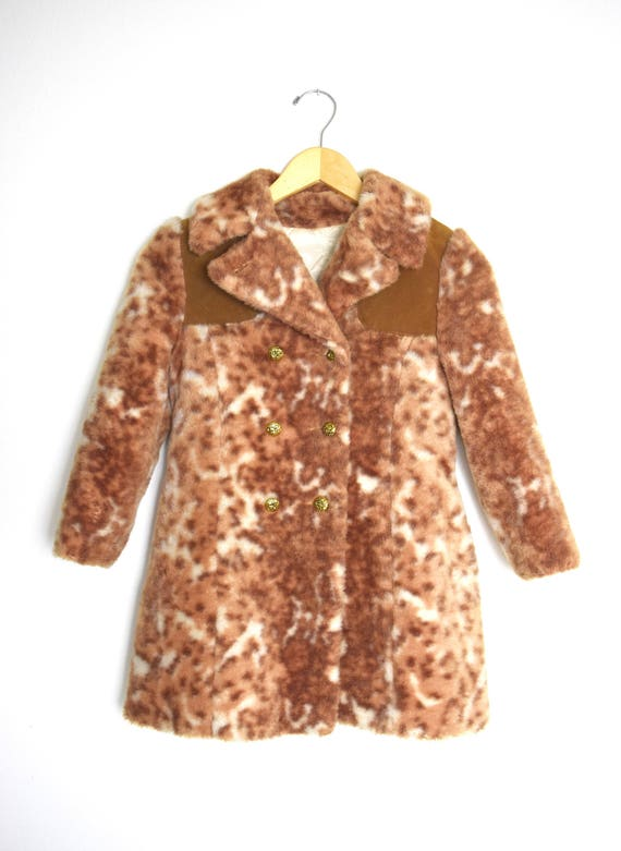 Vintage 60s 70s Little Girls Faux Cheetah Fur Pea Coat (size 7, 8)