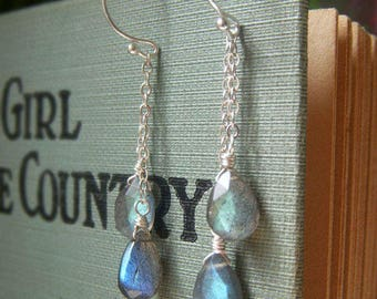Labradorite Chain Earrings Sterling Silver, Fiery Blue Gemstone Briolette Dangle, Natural Stone Jewelry, Genuine Labradorite Jewelry