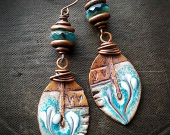 Enameled Charms, Enameled Earrings, Poetic, Bohemian, Gypsy, Artisan Made, Romantic, Tribal, Earthy, Organic, Rustic, Beaded Earring