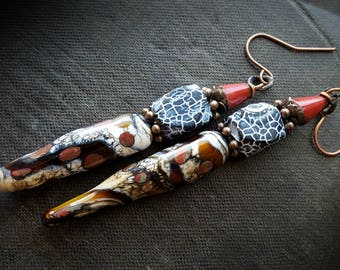 Lampwork Glass, Lampwork Headpins, Crackled Agate, Glass, Copper, Organic, Rustic, Earthy, Artisan Made, Beaded Earrings