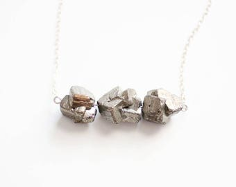 Triple Pyrite Necklace | 14k Gold Filled | Sterling Silver | Stone Necklace | Long Necklace | Raw Stone Jewelry | Raw Stone Necklace