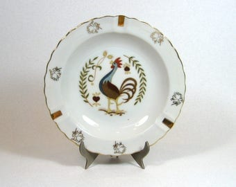 Mid Century Porcelain Rooster Chicken Ashtray Trinket Bowl Made in Japan