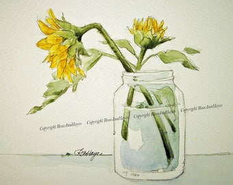 Sunflowers Wildflowers Original Watercolor Painting  Flowers Floral Bouquet Garden