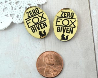 ZERO FOX GIVEN - 2 Pieces - Gold and Black - 18X25mm - Laser Cut Acrylic - Flatback Cabochons