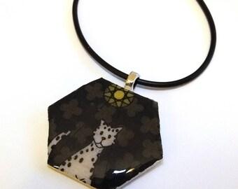 SECONDS Hexie pendant, Elizabeth Hartman Rhoda Ruth leopard, hexagon pendant, hexagon necklace, fabric jewelry, fabric pendant