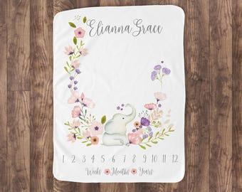 Baby Milestone Blanket- Elephant & Flowers Baby Month Blanket - Girl - Baby Blanket -Baby Shower Gift