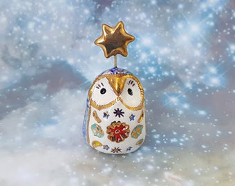 Owl Fairy Sculpture with Speckles and Gold Star